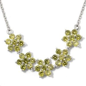 Simulated Peridot Floral Necklace